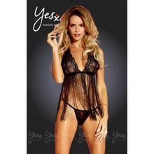 Load image into Gallery viewer, Yesx YX164 Babydoll/Thong Black