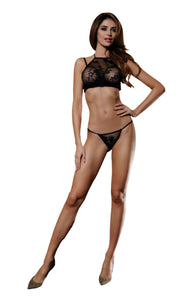 Yesx YX523 2 Piece Bra Set Black