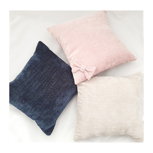 Velvet Cushion - Oatmeal (With Bow)