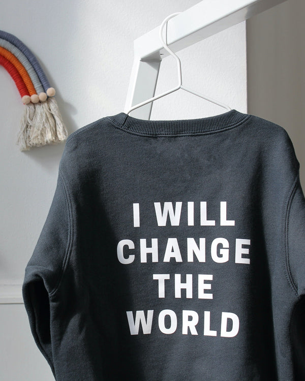 I WILL CHANGE THE WORLD Kids Sweatshirt - grau - fam vibes