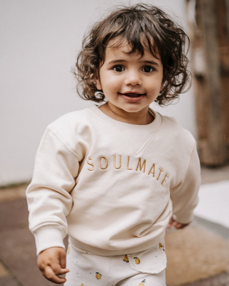 SOULMATE Baby Sweatshirt - creme/ gold - fam vibes