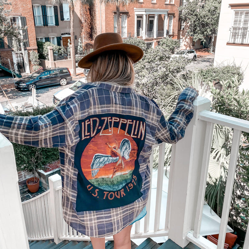 Maelo Flannel LED ZEPPELIN BAND TEE FLANNEL
