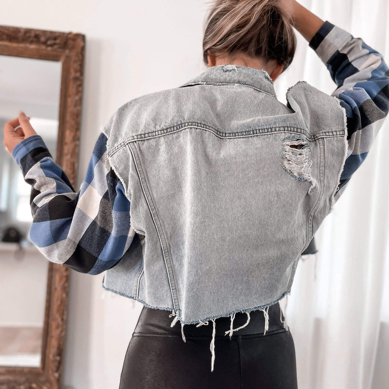Maelo Jacket DENIM BLUE FLANNEL CROP JACKET