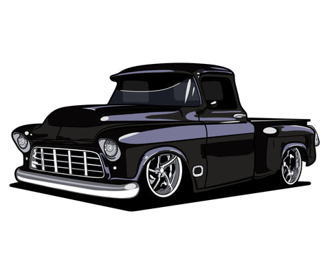 Coming Soon! 55/59 Chevy Pickup Sticker (6 Inches)