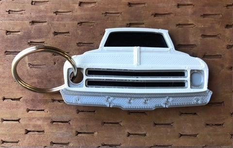 3D Printed 1967–1968 Truck Keychain Front View Ready To Paint
