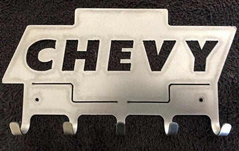 (BARE METAL) Chevy BowTie, 5 Hook Key Holder