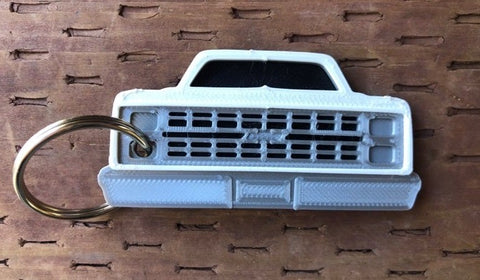 3D Printed 1981–1987 Truck Keychain Front View Ready To Paint