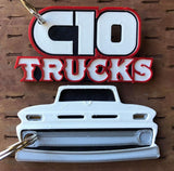 3D Printed 1960–1966 Truck Keychain Front View Ready To Paint