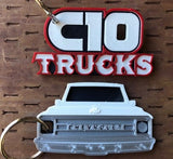 3D Printed 1969–1970 C10 Truck Keychain Front View Ready To Paint