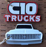 3D Printed 1971–1972 Truck Keychain Front View Ready To Paint