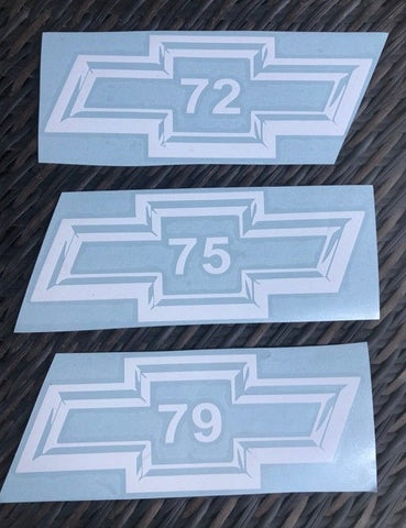 "8"" Chevy BowTie Year Decal 1970 to 1979"