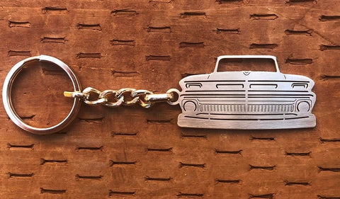 First generation C10 1960–1966 Stainless Steel Truck Keychain Front View