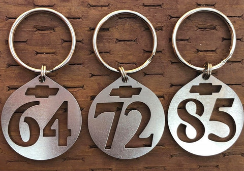 1960 To 1988 Chevy 2 Digit Stainless Steel Keychains