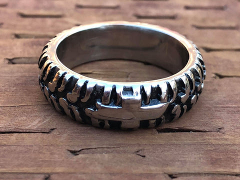 Chevrolet Tire Tread Grooved Titanium Stainless Steel Ring