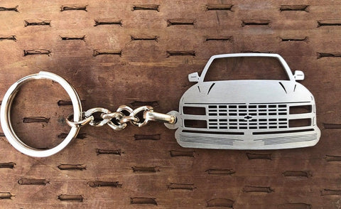 1990–1998 Chevy Front View Stainless Steel Key-chain