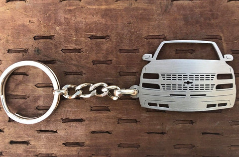 1999–2002 Chevy Front View Stainless Steel Key-chain