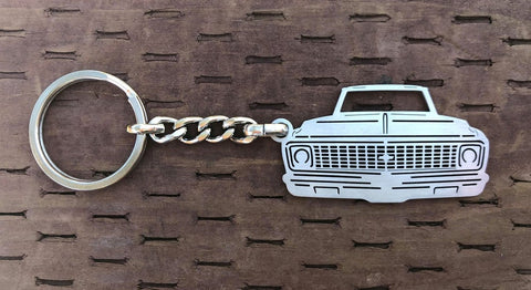 Second generation 1971–1972 Stainless Steel C10 Truck Keychain Front View
