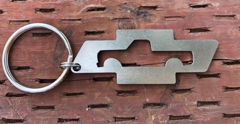 1967–1972 Stainless Steel Bowtie Truck Keychain Side View