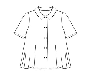 flat drawing of a short sleeve button up top