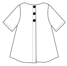 Load image into Gallery viewer, flat drawing of the back of a top with buttons down the center seam