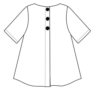 flat drawing of the back of a top with buttons down the center seam