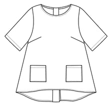 Load image into Gallery viewer, flat drawing of the front of a top with pockets at the hips and a lower hem in the back