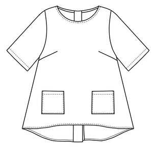 flat drawing of the front of a top with pockets at the hips and a lower hem in the back