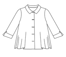 Load image into Gallery viewer, flat drawing of a button up top with splits at the cuffs