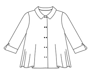 flat drawing of a button up top with splits at the cuffs