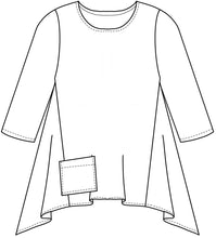 Load image into Gallery viewer, flat drawing of a flared pull over top with a pocket at the front hip