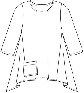 flat drawing of a flared pull over top with a pocket at the front hip
