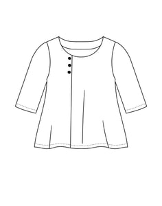 flat drawing of a pullover top with three buttons at the off centered neckline, along the front seam