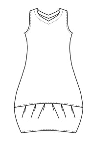 flat drawing of a v-neck sleeveless tunic with a pleated contrasting hem
