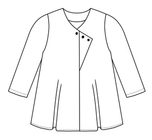 Jacket with buttons along a diagonal placket at the center front seam