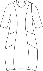 drawing of a shift dress with princess seams and pockets at each hip