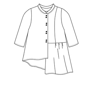 flat drawing of a button up with a short standing collar with an asymmetrical hemline