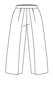 flat drawing of a slim pant with wide panels on the side