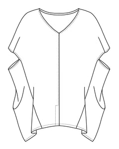 drawing of a pullover top with a vneck and boxy body