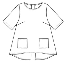 Load image into Gallery viewer, flat drawing of a pullover top with hip pockets and buttons up the back center seam