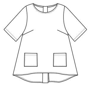 flat drawing of a pullover top with hip pockets and buttons up the back center seam