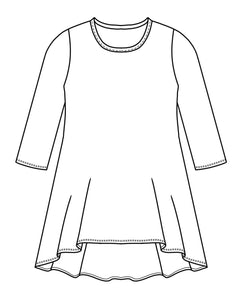 flat drawing of a 3/4 sleeve top