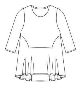 flat drawing of a top with a contrasting bottom