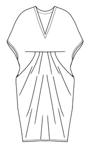 flat drawing of a kaftan style dress