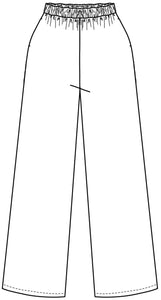 flat drawing of a wide leg pant with an elastic waist