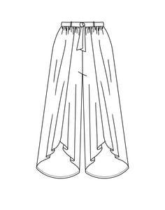 flat drawing of a wide, open leg pant