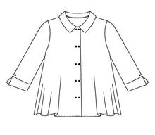 Load image into Gallery viewer, flat drawing of a button up top with a collar and split cuffs on the sleeve hems
