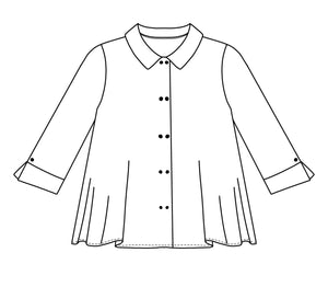 flat drawing of a button up top with a collar and split cuffs on the sleeve hems