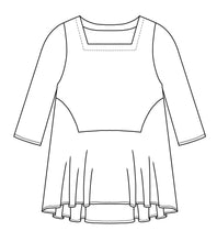 Load image into Gallery viewer, drawing of a top with a flared skirt bottom