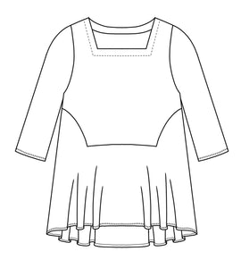 drawing of a top with a flared skirt bottom