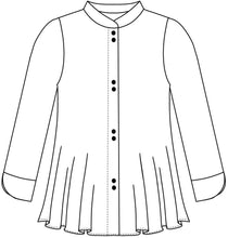 Load image into Gallery viewer, drawing of a button down blouse with a short standing collar and a full body